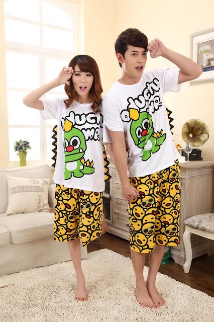 Model Baju Tidur Piyama Pasangan Celana Pendek Baju Pendek