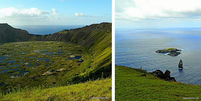 Vulcão Rano Kau e vila de Orongo - Ilha de Páscoa