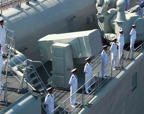 HQ-10 short-range air-defence missile system. The Liaoning is equipped with four 18-cell launchers.