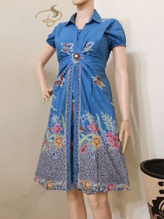 Dress Batik Rama Kupu Biru