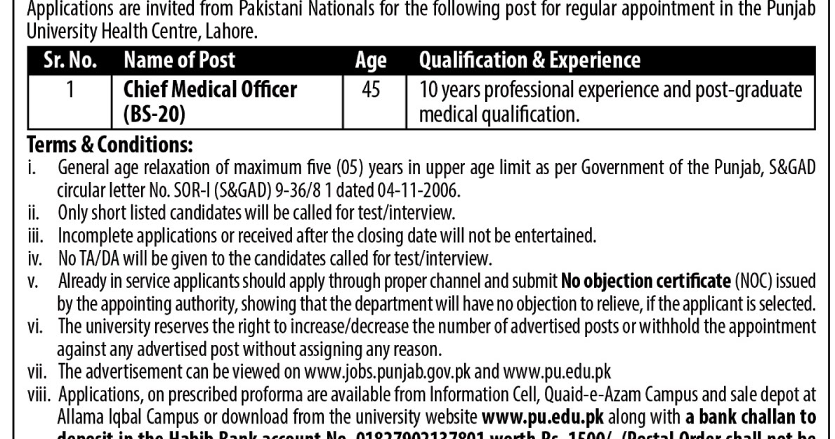 Chief Medical Officer Job In Pu University Of Punjab Mar