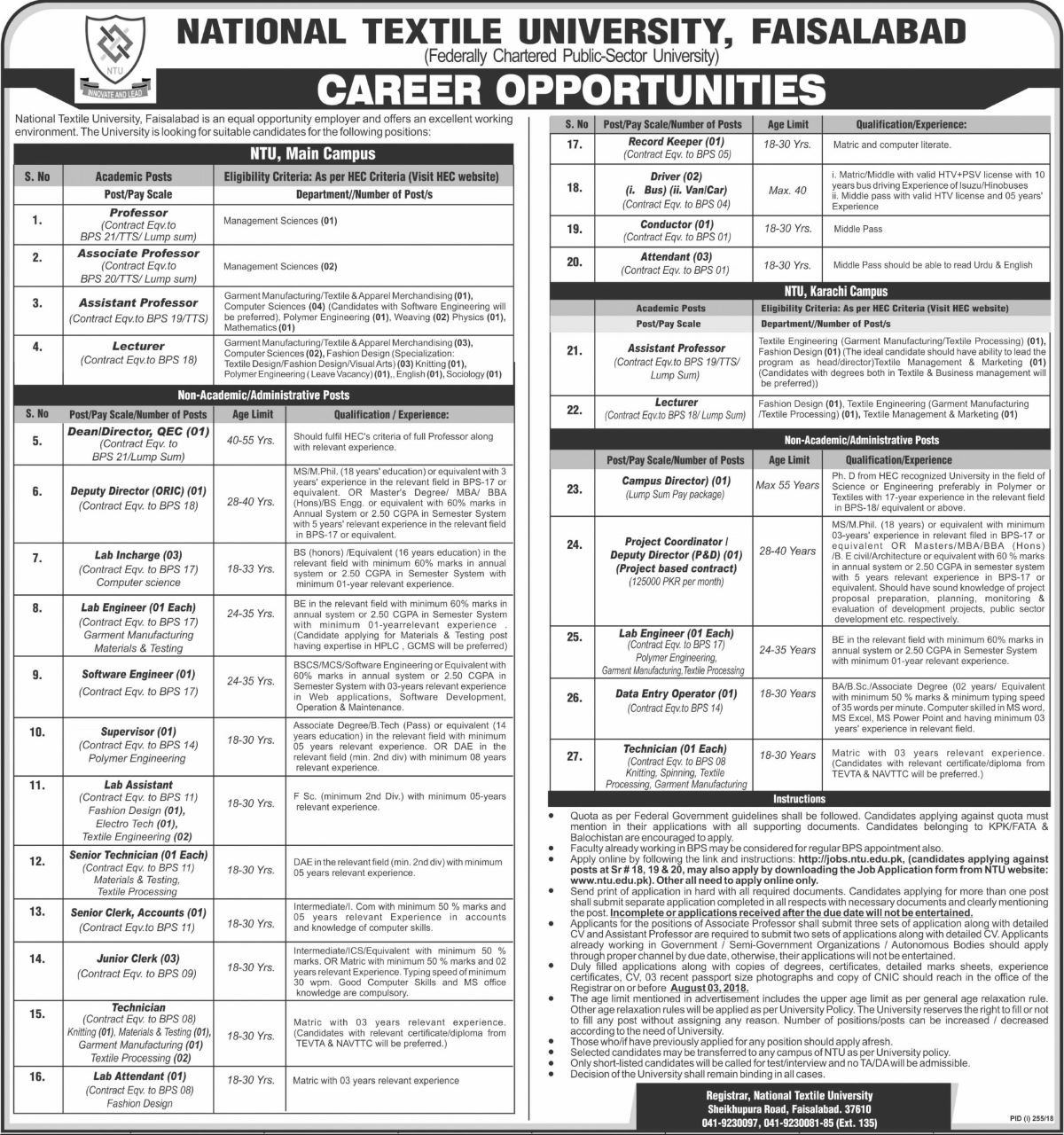 Latest Jobs In National Textile University Jobs for 90+ Teaching ...