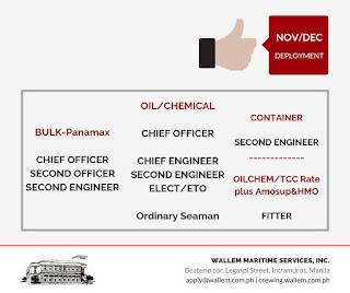 Hiring jobs Filipino crew deployment November-December 2018 join to a container, Bulk carrier, Oil tanker ships