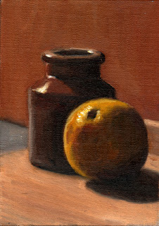 Oil painting of a large round lemon beside a small earthenware jar.