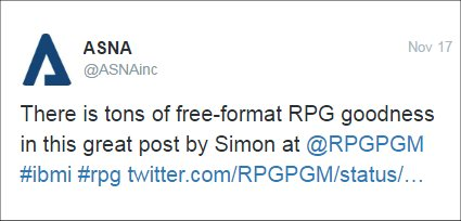 From ASNA: There is tons of free-format RPG goodness in this great post by Simon at @RPGPGM