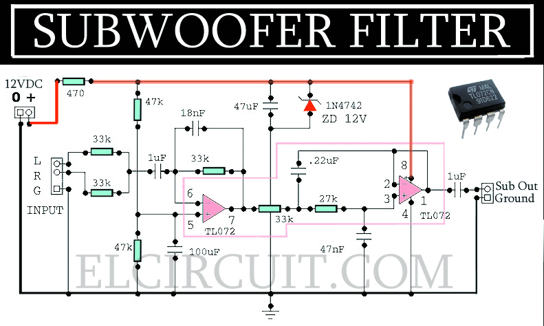 Complete Subwoofer Filter Circuit Tl072 Electronic Circuit