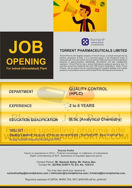 Torrent Pharma Urgent Openings For Quality Control