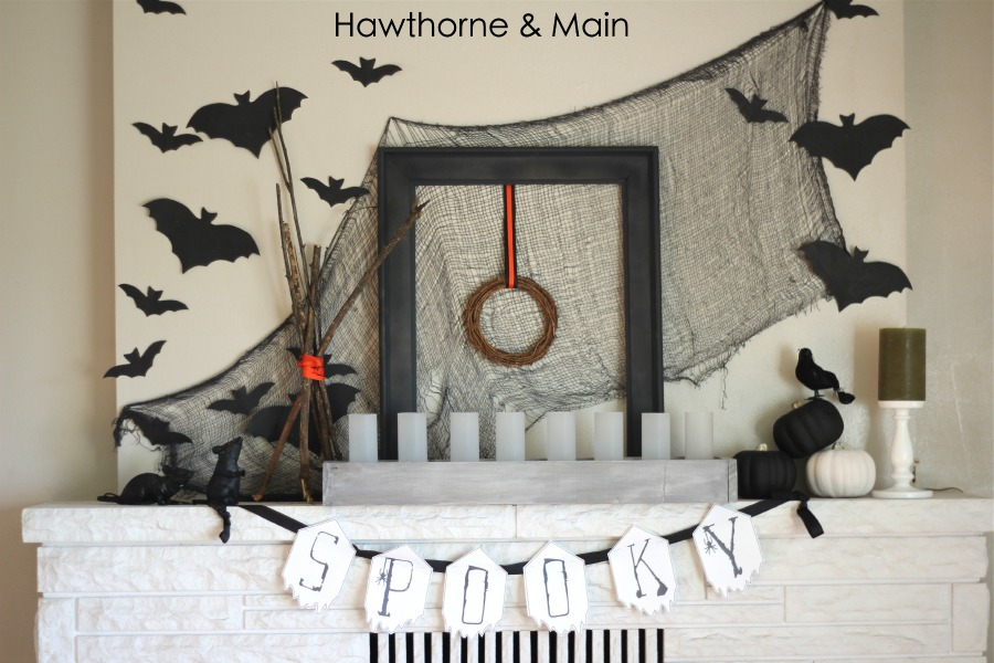 Halloween Mantel from Hawthorne & Main  | Halloween Favorites at www.andersonandgrant.com