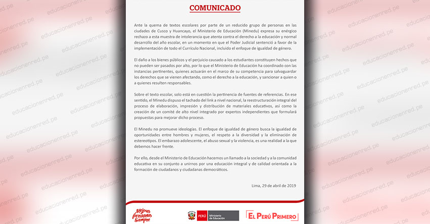COMUNICADO MINEDU: Ministerio de Educación condena quema de textos escolares - www.minedu.gob.pe