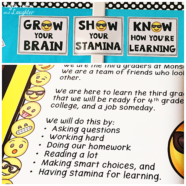 Top: Emoji Self Assessment Tools.  Bottom: Class Rules from Light Bulbs and Laughter