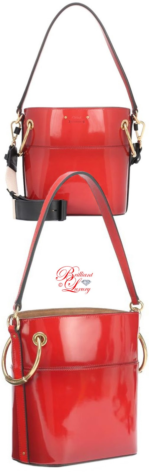 Brilliant Luxury ♦ PANTONE Fashion Color SS 2019 ~ Fiesta ♦ Chloé Roy patent leather bucket bag #red