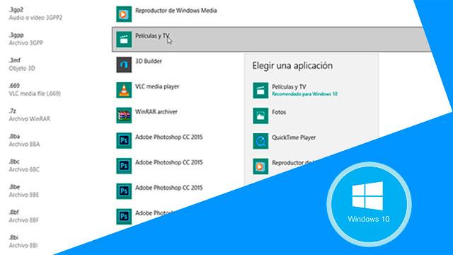 Cambiar programa predeterminado para abrir archivos Windows 10