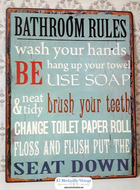 Cartel de chapa Vintage - Bathroom Rules