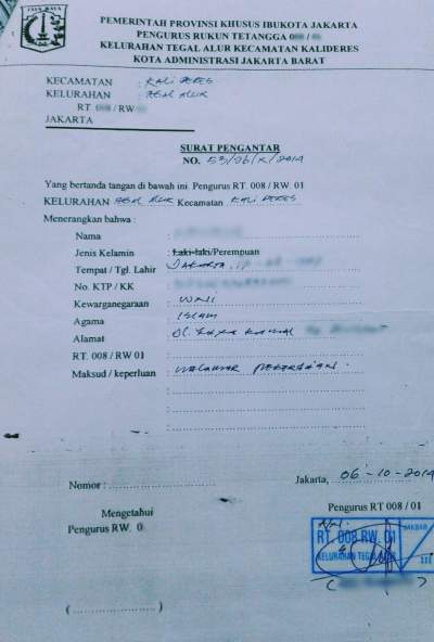 Contoh Surat Keterangan Domisili Tempat Tinggal Dari Rt
