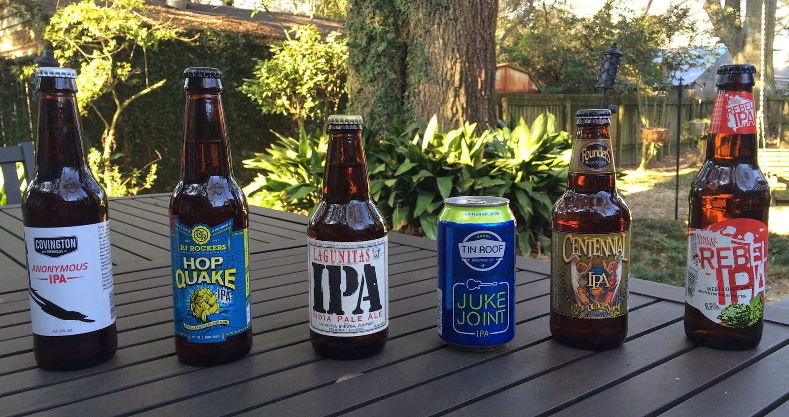 Six IPAs blind tasted by Brenton Day, Eric Ducote, and Chuck P.