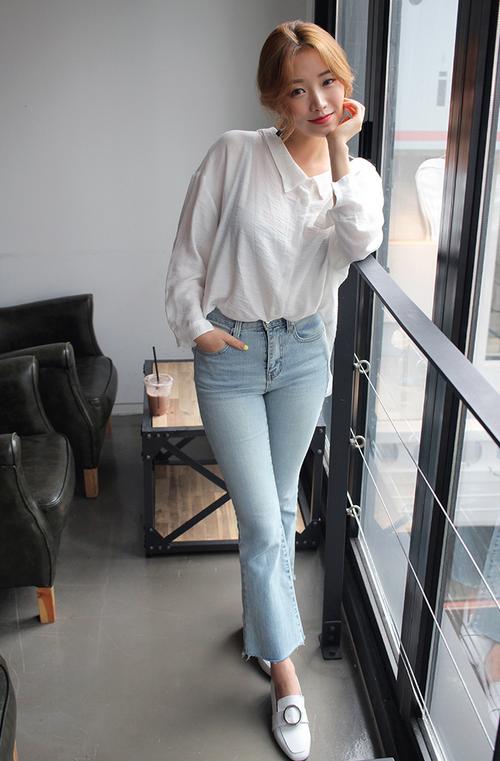 Fringe Hem Boot Cut Jeans