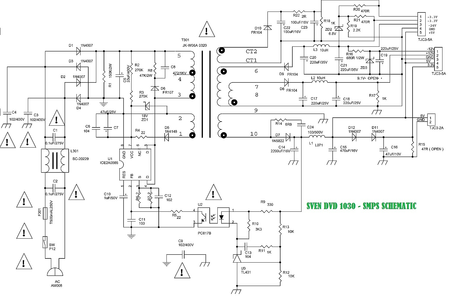 smps schematic diagram fluorescent light holder sven hd1030 and hd1060 dvd player  front