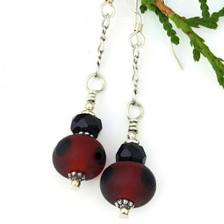 red and black lampwork jewelry gift idea for her