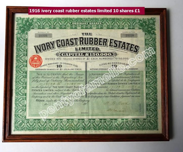 1916 ivory coast rubber estates limited 10 shares £1 in good condition
