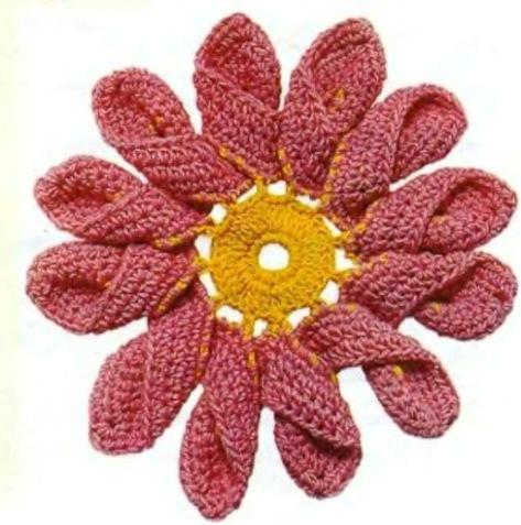 Flores de Crochet con Petalo doble