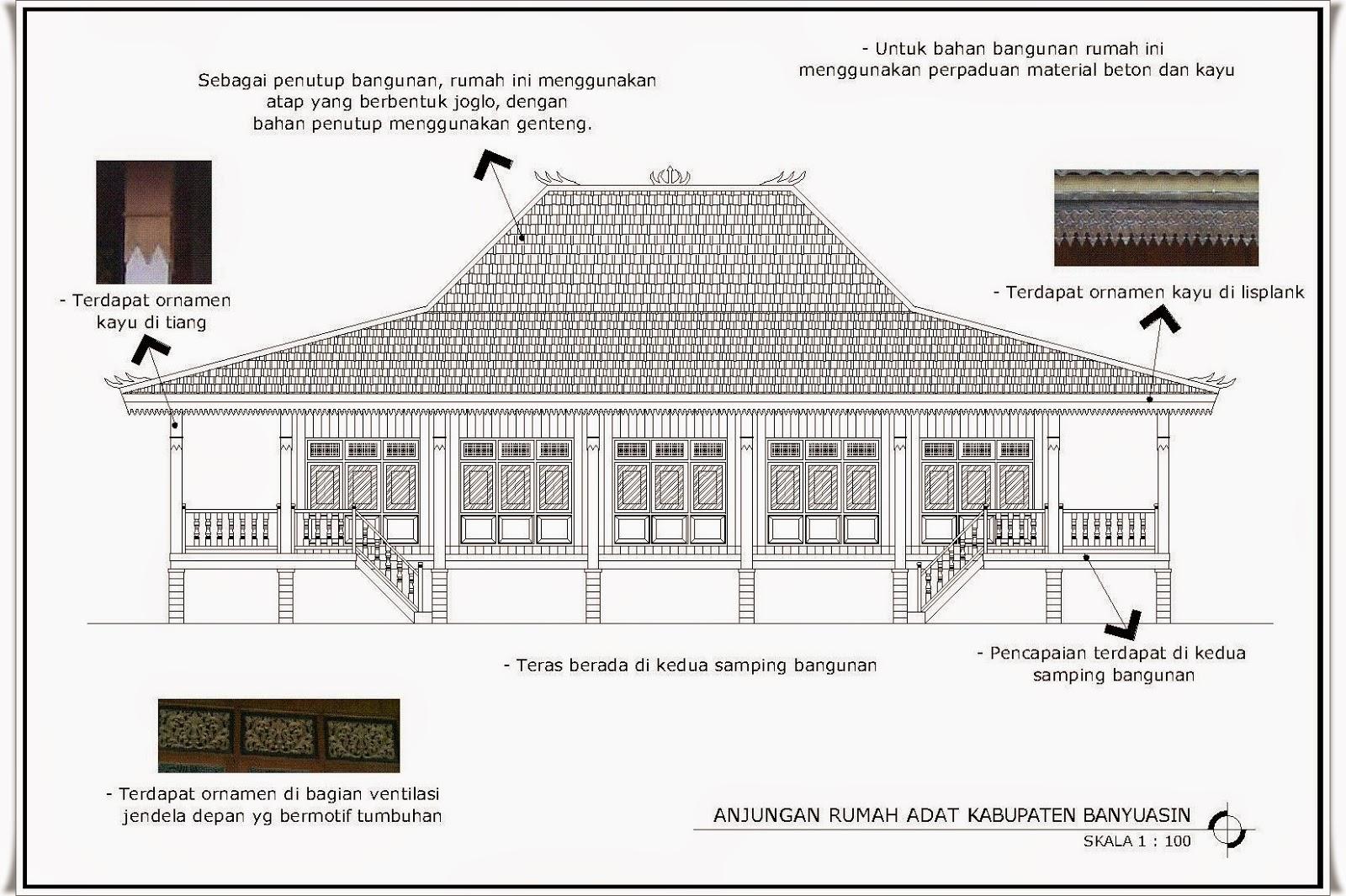 Contoh Kumpulan Sketsa Rumah Adat Sumatera Selatan Desain