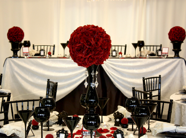 Black Red And White Wedding No 1 Roses In Vases Gles Plates Table Sitting Frames Clothes Chairs Rose