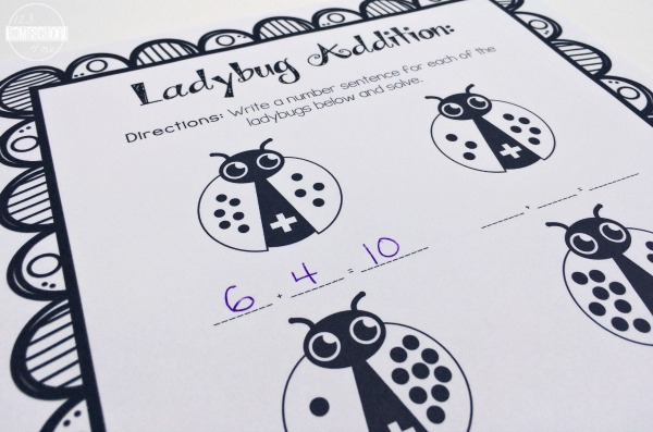 Ladybug Addition Practice Page (math worksheets for preschool, kindergarten, 1st grade)