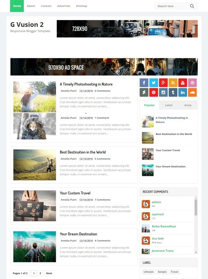 G Vusion 2 Best Free Responsive Blogger Templates