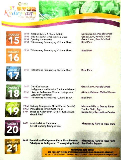 #KADAYAWAN2016 OFFICIAL CALENDAR OF EVENTS