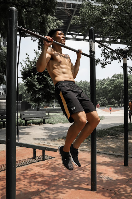 Leo Chan doing Pull Ups | Asian Male Model