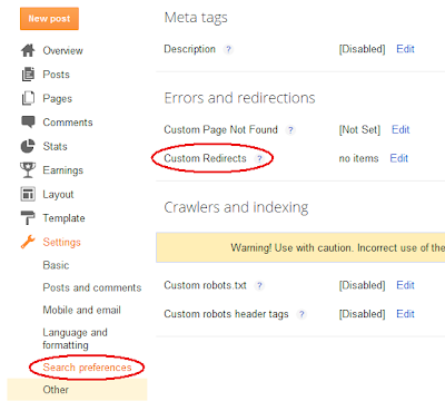 Custom redirects in Blogger settings