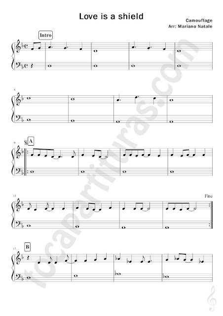 Partitura Fácil de Piano de Love is a Shield de Camouflage Easy Sheet Music for Piano beginners