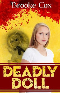 novel cover shows a young blonde teenage girl in foreground with the image of a doll in the background. the background uses the colors red and yellow.