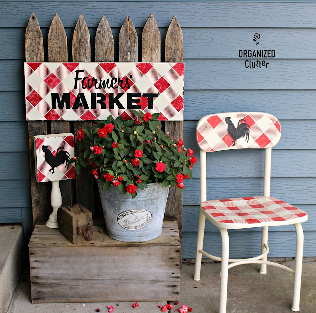Thrift Shop/Garage Sale Painted & Stenciled Covered Patio Decor #buffalochecks #grainsackstripe #oldsignstencils