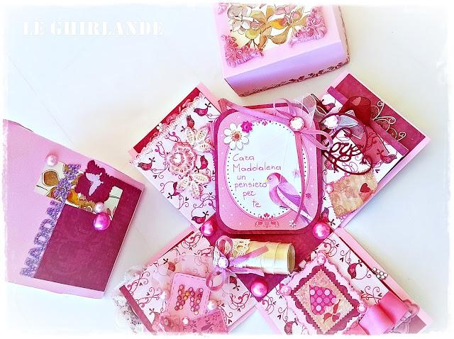 Explosion Box Scrapbooking rosa