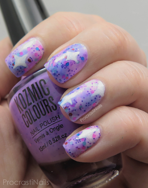 Pastel galaxy nail art using products from the dollar store
