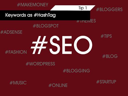 keywords as hashtags