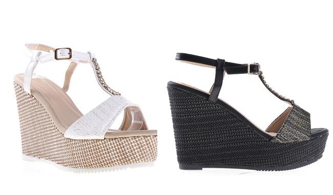Sandale platforma de vara de zi elegante negre, albe