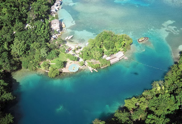 jamaica lagoon portland hole place most background visit places aerial beauty jamaican attractions beach hill island port antonio petchary deep