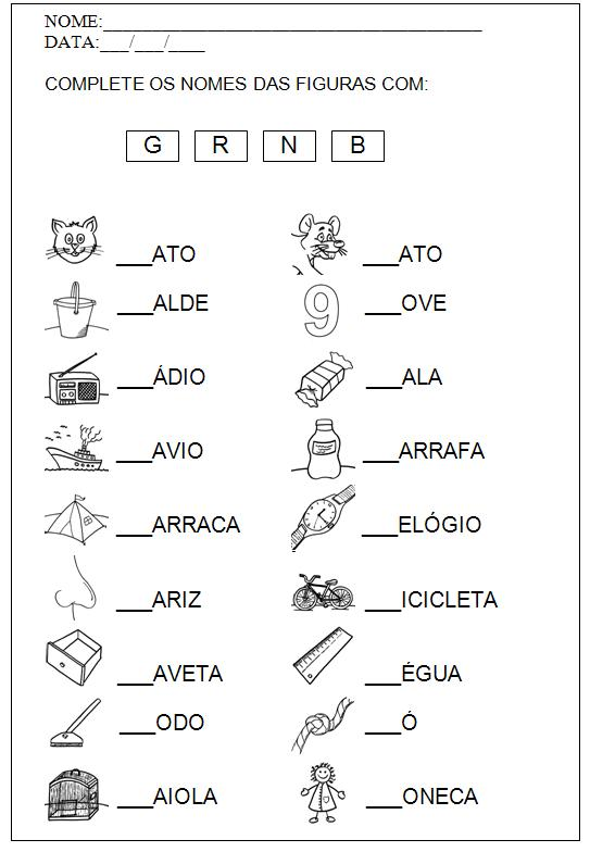 Resultado de imagem para atividades para alfabetizar