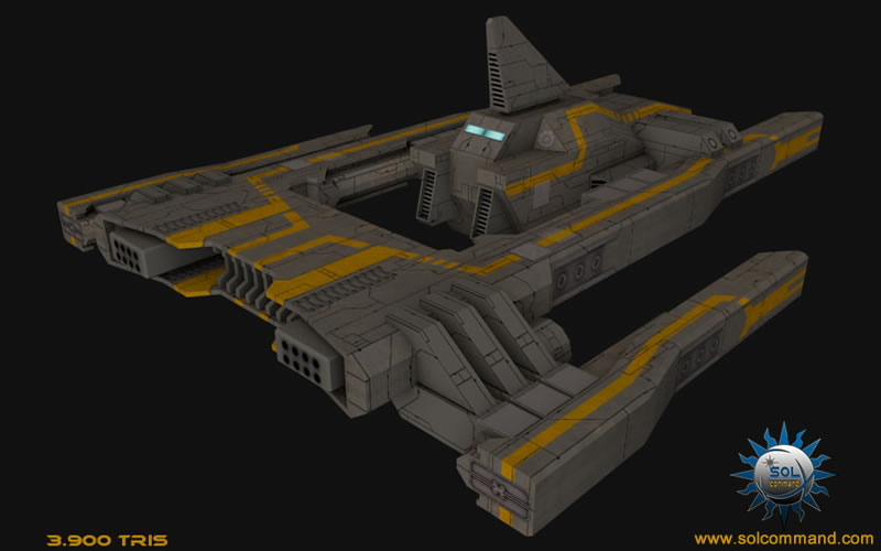 space ship scifi frigate low poly free download 3d model