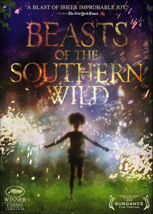 Promo image of Hushpuppy, running on grass holding sparklers, with movie title and blurb 'A blast of sheer improbable joy'