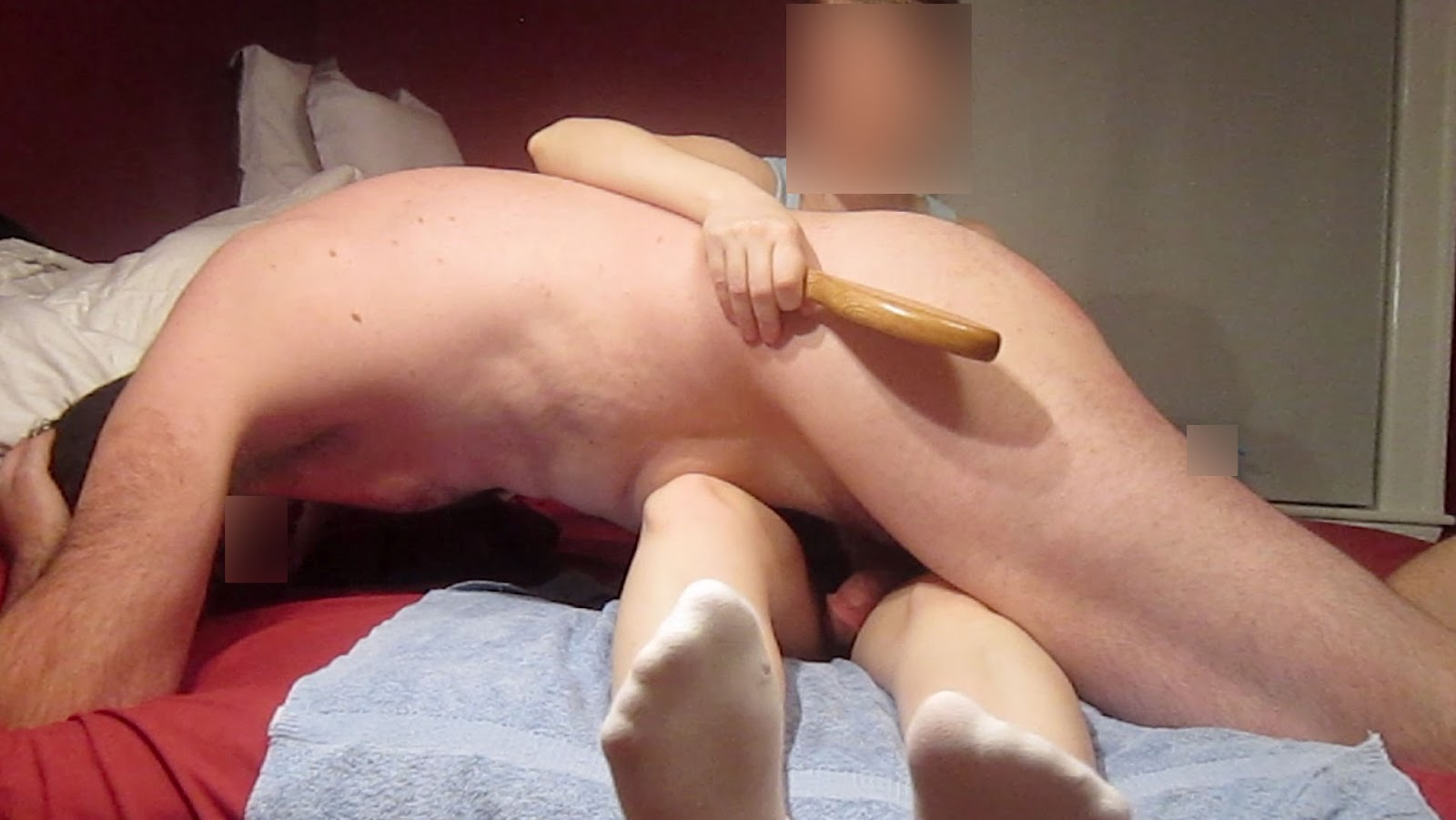 Spanking my husband for missing a spot
