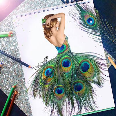 Ilustración de mujer con vestido de plumas de pavo real