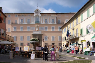 The papal residence opens on to a normal square in Castel Gandolfo