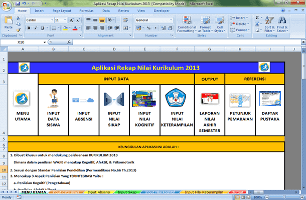 Aplikasi Rekap Nilai SMP Kurikulum 2013 dan KTSP Excel