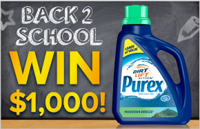 Back 2 School, Win $1,000 from Purex. Ends 8/30