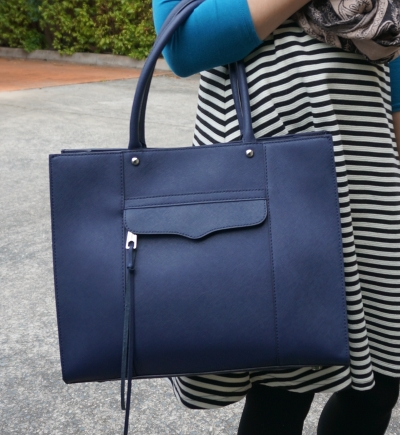 Rebecca Minkoff medium MAB tote in moon navy with striped dress
