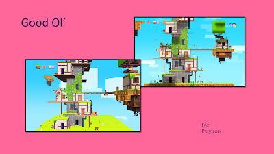 "Title: Good Ol'. Features two images from the game, Fez. They are both in pixel art style and show the same ""town"" of stacked cubic homes from the opening of the game, but one image shows a 3D perspective demonstrating the contrast with the other image that shows the town as a 2D image."