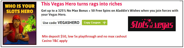 Vegas Hero promo bonuses at Slots of Vegas casino